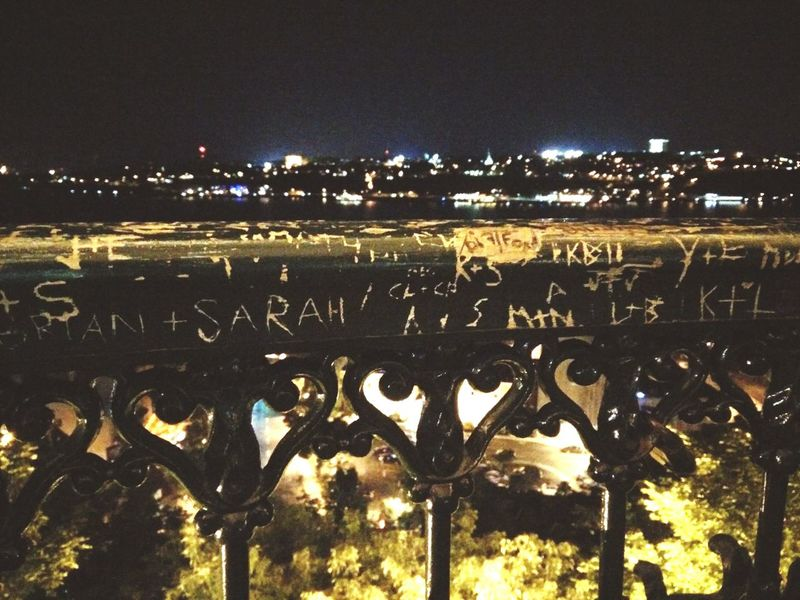 Quebec Traveling Railing Graffiti Nightlife Quebec City City Lights Leaving A Mark