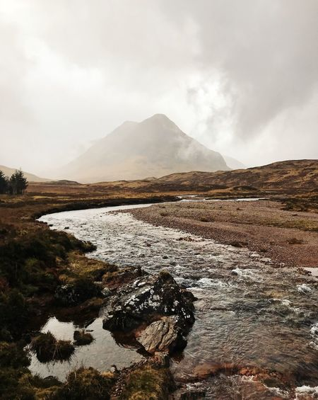 Mountain Sky Beauty In Nature Cloud - Sky Tranquil Scene Tranquility Water Scenics - Nature Day Environment Nature Non-urban Scene No People Landscape Land Outdoors Mountain Range Mountain Peak Glencoe Scotland Highlands Of Scotland River Stream Stream - Flowing Water The Week on EyeEm