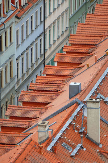 High angle view of rooftops in city