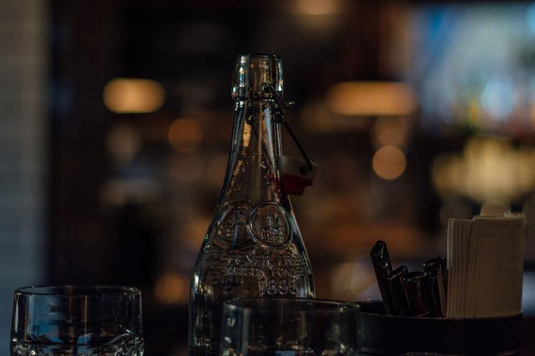 Close-up of wine bottle