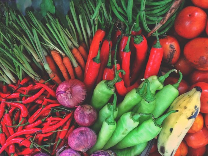 High angle view of chili peppers in market