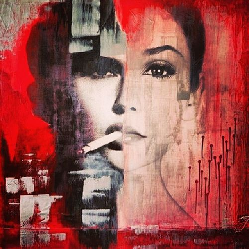 Black and Red Blackandred Art Smokegirl Cozyart andyou sogorgeous likecrazy passion amazing