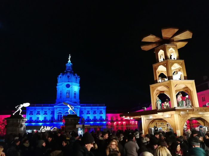 Night Travel Destinations Large Group Of People Architecture Religion Illuminated Celebration Crowd Building Exterior Outdoors Clock Tower Christmas Decoration People Sky Tree City Politics And Government Clock Adults Only Adult Weihnachtsmarkt Charlottenburg  Christmastime