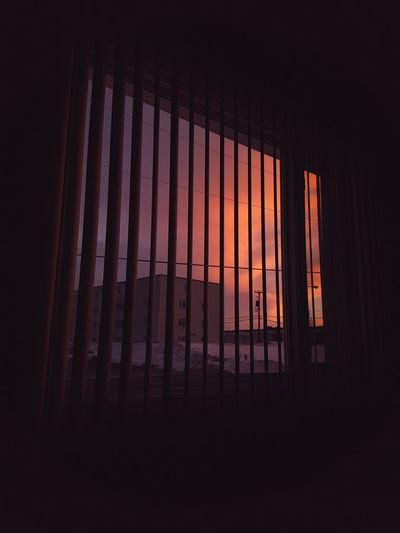 When there's a beautiful sunset but you're too lazy to get out to take photos of it so you snap one from your bed. Curtain Window Indoors  Dark No People Sky Drapes  Illuminated Close-up Day