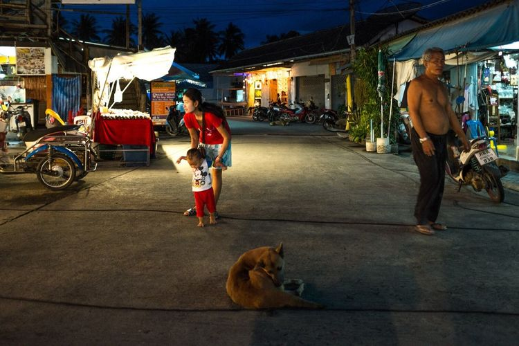 People with dog at night