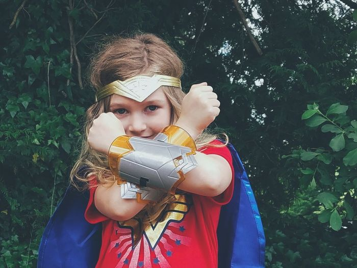 Portrait People One Person One Woman Only Looking At Camera Outdoors Adventure Wonder Woman Girl Girl Power Beauty Strength Childhood Cosplay Close-up Superhero