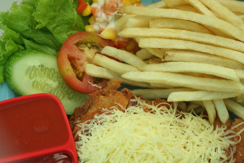 French Fries and Chicken Steak Chicken Steak Food Food And Drink French Fries Meal Plate Ready-to-eat Salad Sauce Temptation Tomato Vegetable Paint The Town Yellow
