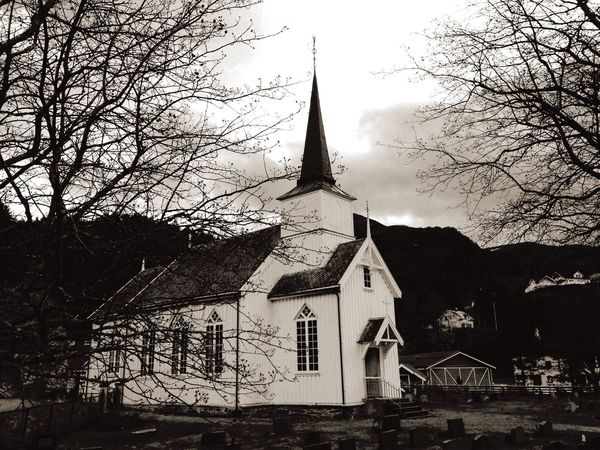 Architecture Old Buildings Church Norway Mountains Blackandwhite Light And Shadow Clouds And Sky