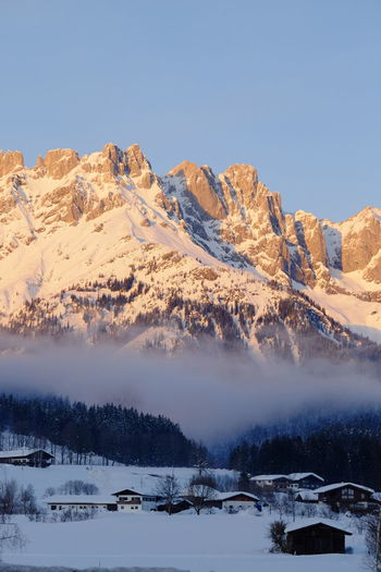 Winter Cold Temperature Snow Scenics - Nature Sky Beauty In Nature Tranquil Scene Mountain Tranquility Non-urban Scene Environment Nature Mountain Range Tree Clear Sky No People Landscape Covering Idyllic Snowcapped Mountain Foggy Morning Wilder Kaiser Tyrol