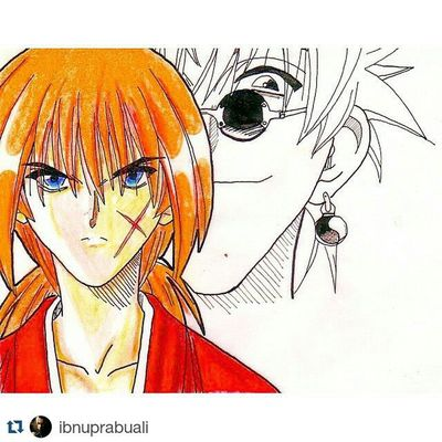 Repost @ibnuprabuali with @repostapp ・・・ Instasize Art Illustration Drawing Draw Picture Photography Artist Sketch Sketchbook Paper Pen Pencil Artsy Instaart Gallery Masterpiece Creative Instaartist Graphic Graphics Artoftheday RurouniKenshin KenshinHimura samuraix anime manga samurai comic
