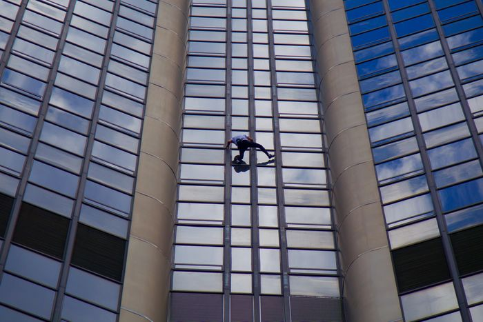 Tour Montparnasse. Alain Robert is Architecture Building Climbing Courage Danger One Person Real People RISK Skyscraper Skyscrapers Spider-man