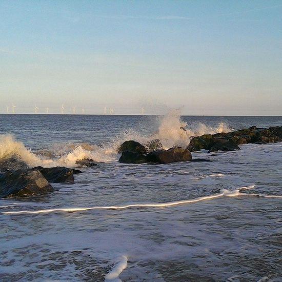 Nofilters Caister Caisteronsea Seaside sand rocks tide sky blue bluesky beach htcone htc1 springevening spring waves sea spray splash coast