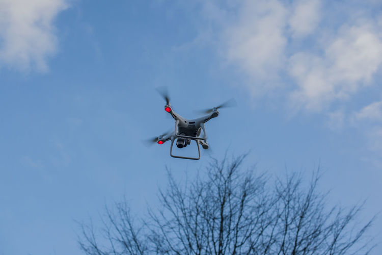 Drone is controlled and fly in the air