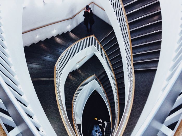 High angle view of staircase at museum of contemporary art
