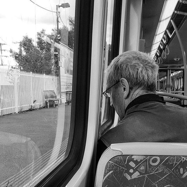 ... i watched... Didn't take long to notice, his eyes were not on the platforms or houses we passed. ... I wonder... How many years back he gazed? As the train gently rocked him in the arms of past memory. . My Transport Street Series continues Trainstories Memories MichaelsCamera TheCreatorClass Ig_community Communityfirst EyeEm Eyeemphoto Justgoshoot Streetlife_mag Main_vision Australiafolk Sociallifeaustralia The_lady_bnw Blackandwhite Blackandwhitephotography Blackandwhitelove Insta_bw Bnw_society Bnw Bnw_australia Bnw_captures Bnw_city