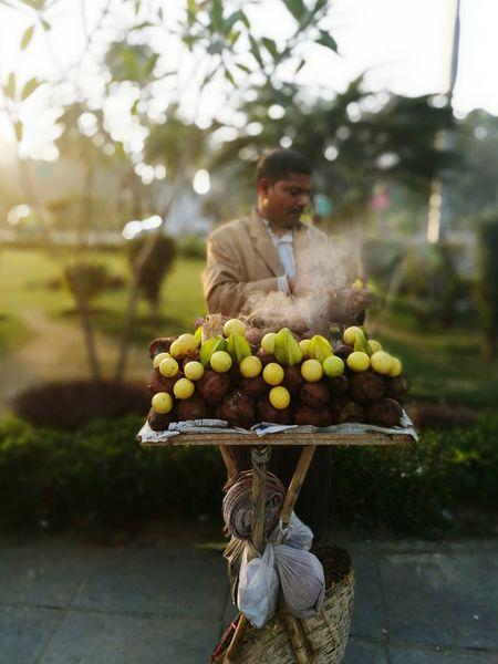 Streetfood India Potatoes Lemon Streetvendor Travel Newdelhi