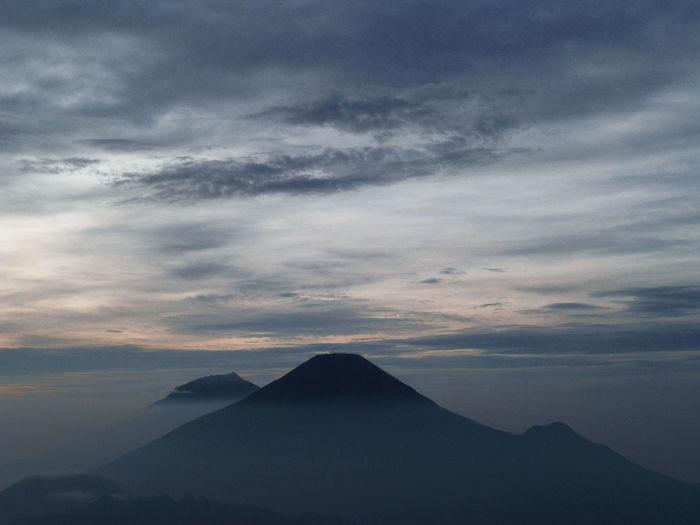 Night view towards the night on the prau mountain, dieng