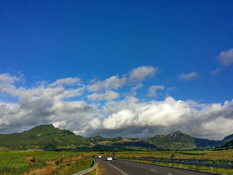 Clouds Clouds And Sky Cloudporn Sky Skyporn Bluesky 🌈🌈🌈 Bluesky Mountain Mountains Mountainranges Mountainrange Sugarcane Green Road Roadtrip Mauritius Island  Mauritius Mauritius <3 Cars Motorway Nature EyeEm Best Shots EyeEm Gallery Eyeemphotography EyeEmBestPics