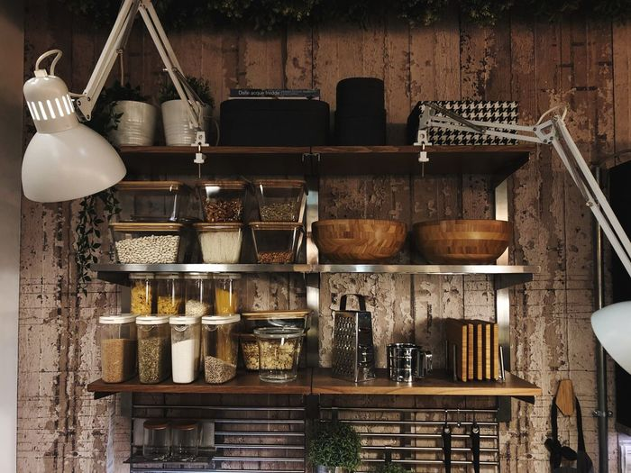 Kitchen Supplies Küche Kitchen Arrangement Still Life Large Group Of Objects Indoors  No People Variation Choice Shelf Container Abundance Food And Drink Kitchen Utensil For Sale Wall - Building Feature Hanging Household Equipment Collection Wood - Material Stack Rack