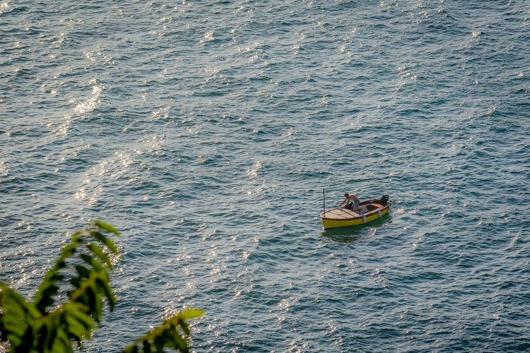 Boat Calm High Angle View Italy Nature Ocean Rippled Scenics Sea Seascape Sorrento Tranquil Scene Tranquility Transportation Water