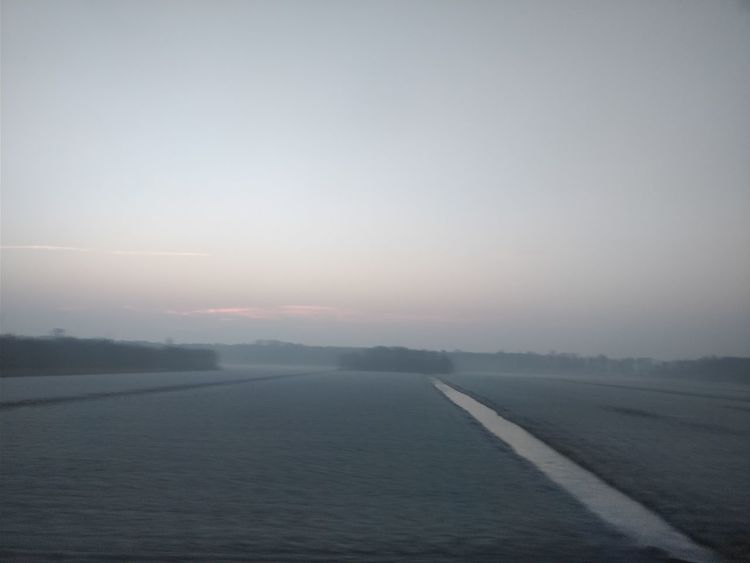 Morning Morning Light Cloud - Sky Blue Pink Nofilter PhonePhotography Skyline Sunrise Reflection Water Canal Field Tree Trees Fields Landscape Enjoying Life Fog No People Outdoors Winter Tranquility Cold Temperature Nature Landscape Scenics Sky Beauty In Nature Day