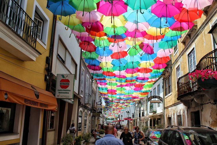 Umbrellas Multi Colored City Hanging Architecture Building Exterior Built Structure