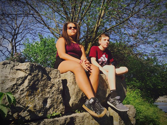 Outdoors Sitting Two People Real People Teenager