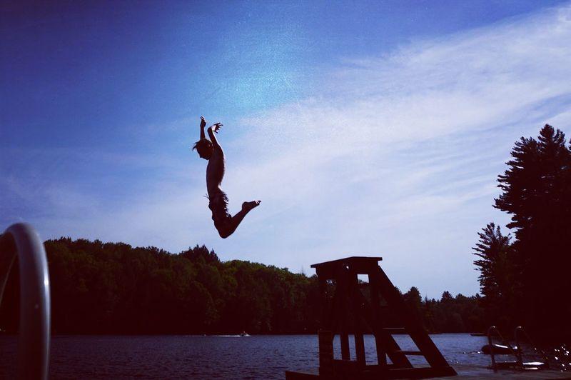 Boy in flight Lake Swim Swimming Dive Jump Summer Boy