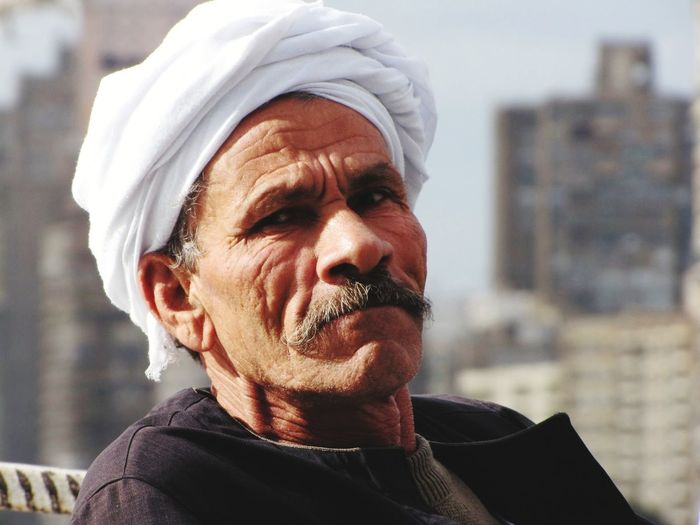 Headshot Portrait Outdoors One Person One Man Only Egyptian-Faces Sailor NileRiver