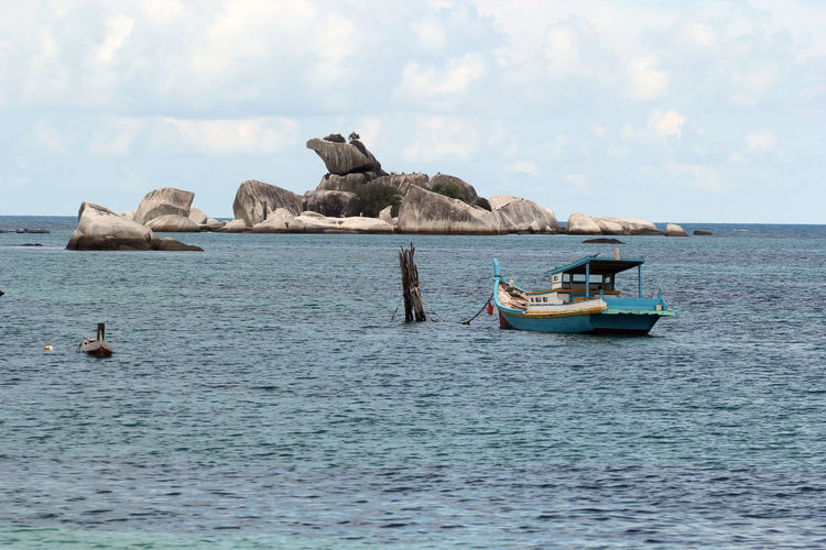Beach Beautiful Belitung Belitung Island Boat Cloud - Sky Composition Fishing Boat Horizon Over Water Mode Of Transport Sea Ship Sky Transportation Travel Water