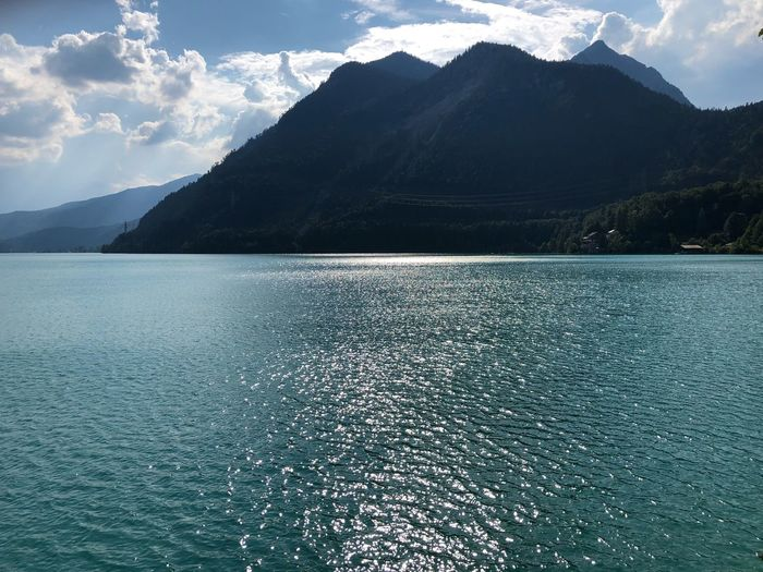 Walchensee 💦 Water Mountain Scenics - Nature Beauty In Nature Sky Cloud - Sky Nature Tranquil Scene Mountain Range Tranquility Day Waterfront Rippled Sea No People Idyllic Non-urban Scene Outdoors Turquoise Colored