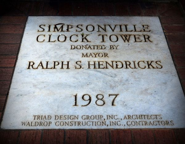 History Clocktower Clock Tower Commemorative Simpsonvillesc YeahTHATsimpsonville Yeahthatgreenville Greatergreenvillesc Plaque Suburbia Smalltown