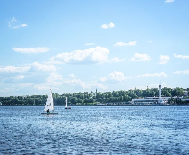 Water Outdoors Sky Day Cloud - Sky Nature No People Russia Yaroslavl' Yacht Yachting Yachtlife Blue Sky And Clouds