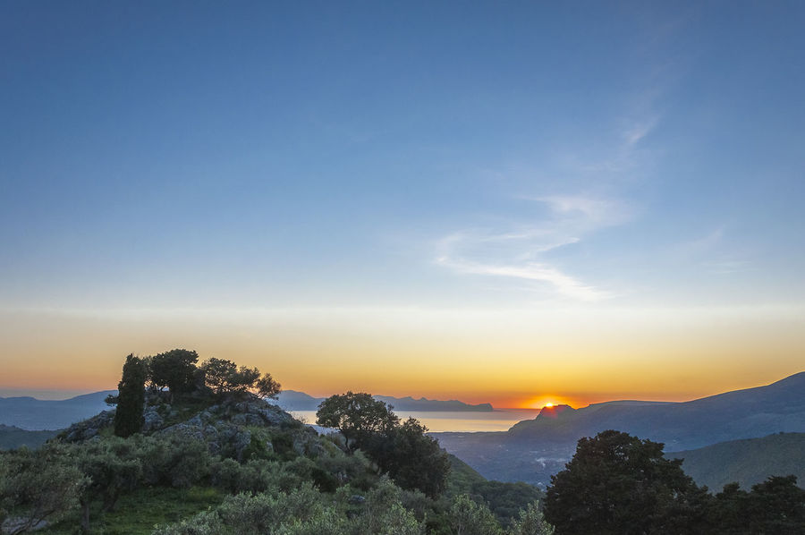 Beauty In Nature Blue Sky Cloud Clouds Horizon Over Land Italia Landscape Mediterrean Mediterrean Sea Mountain Nature Olive Tree Outdoors Rocks Sicilia Sky Sun Sunset Sunset Silhouettes Tranquil Scene