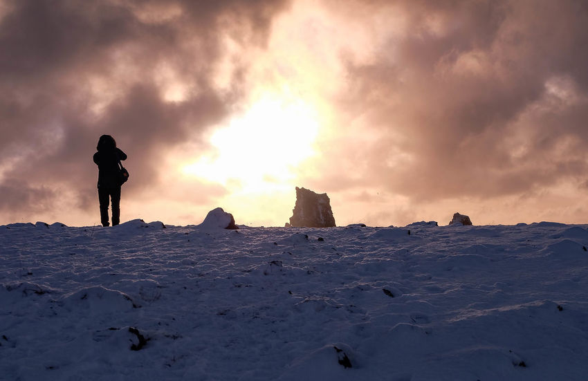 Adventure Beauty In Nature Cold Temperature Day Extreme Terrain Full Length Horizon Iceland Landscape Nature One Person Outdoors Scenics Silhouette Sky Snow Sunset Travel Travel Destinations Winter Young Adult