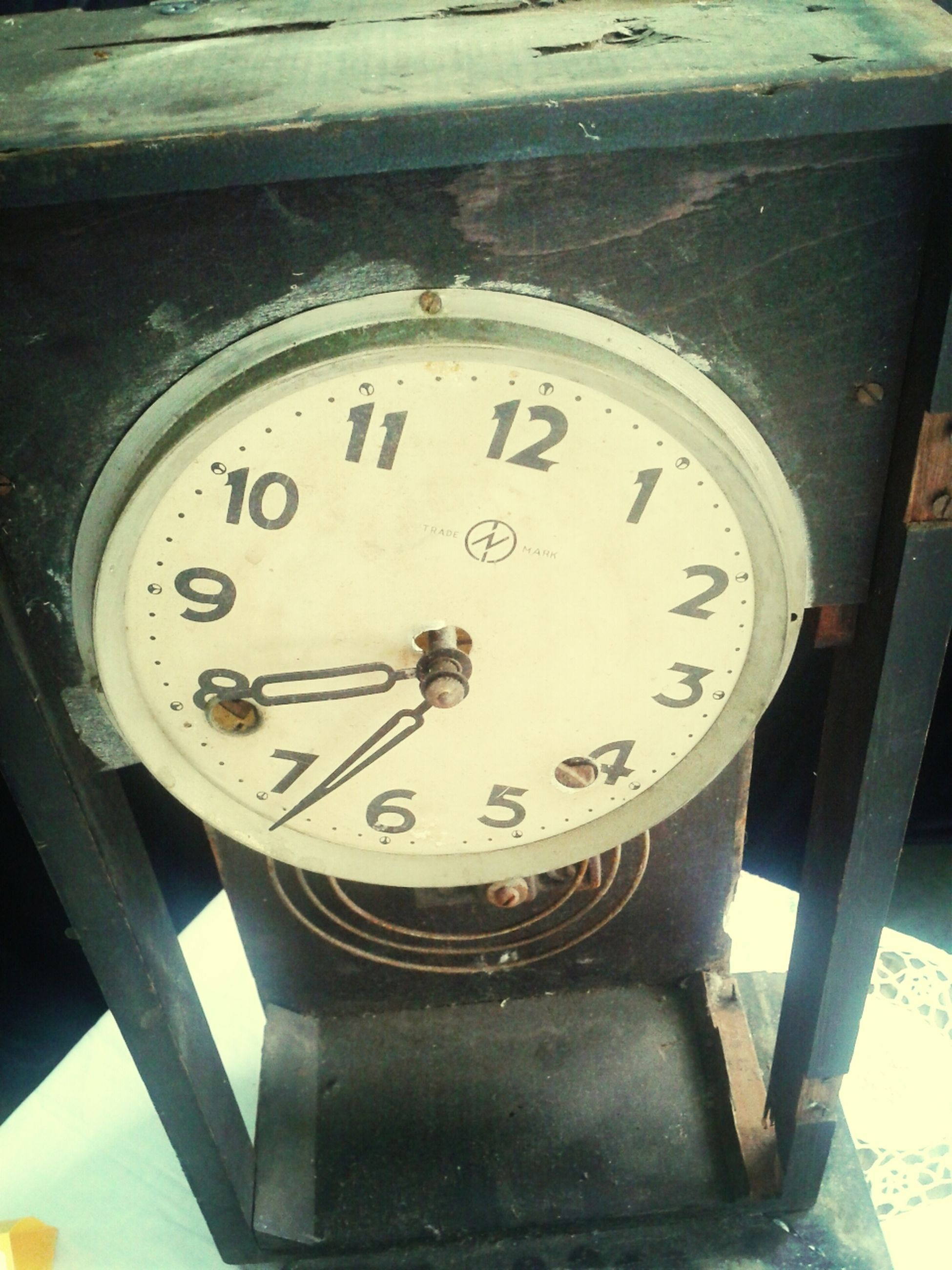 clock, time, text, number, communication, close-up, western script, indoors, metal, old-fashioned, low angle view, clock face, accuracy, minute hand, instrument of measurement, old, technology, transportation, no people, wall clock