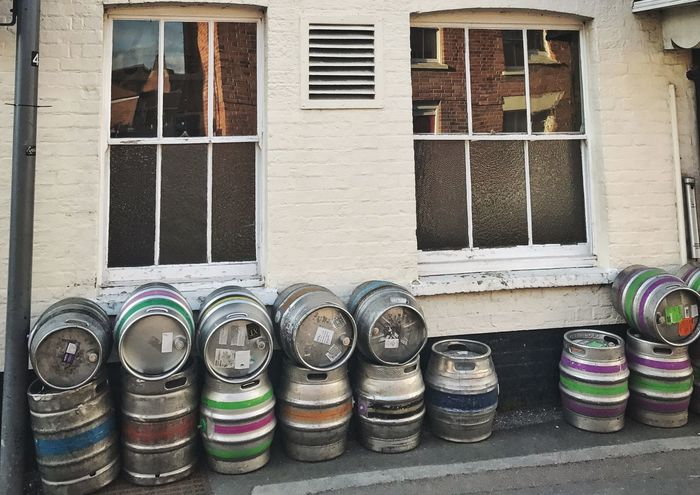 Beer barrels outside a pub. Window Architecture Day Built Structure Building Exterior No People Multi Colored Outdoors Stack Barrel Beer Beer Barrels Barrels England