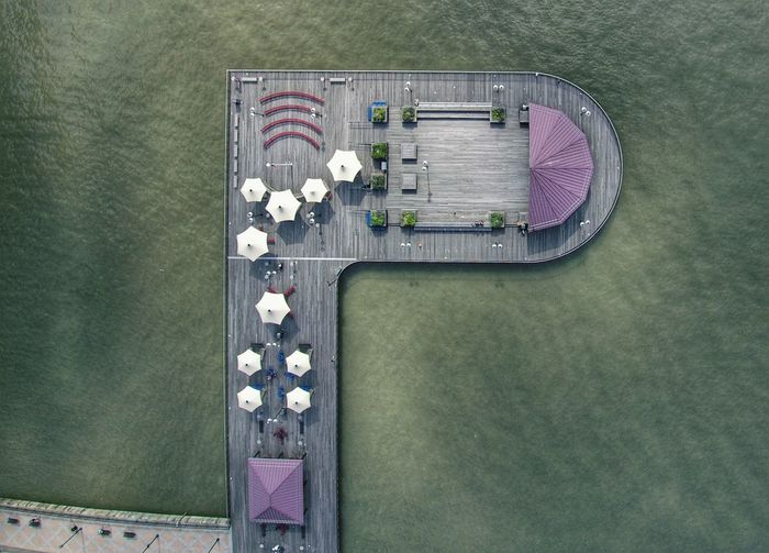 High angle view of pier