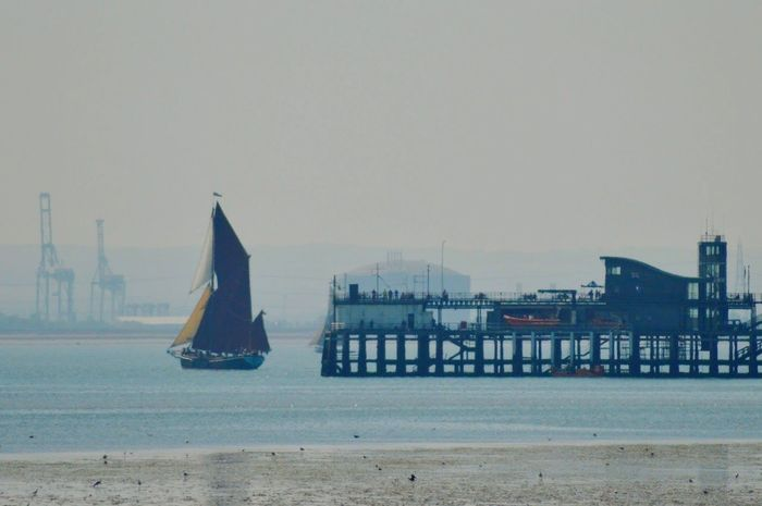 Sea Beach Water Outdoors Built Structure Thames Barge Southend Pier Sailing Ship Essex Sky Day