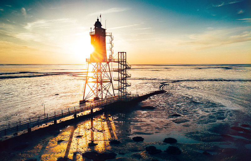 Architecture Beauty In Nature Built Structure Horizon Over Water Leuchtturm Lighthouse Meer Nordsee Sea Sky Sun Sunlight Sunset Water