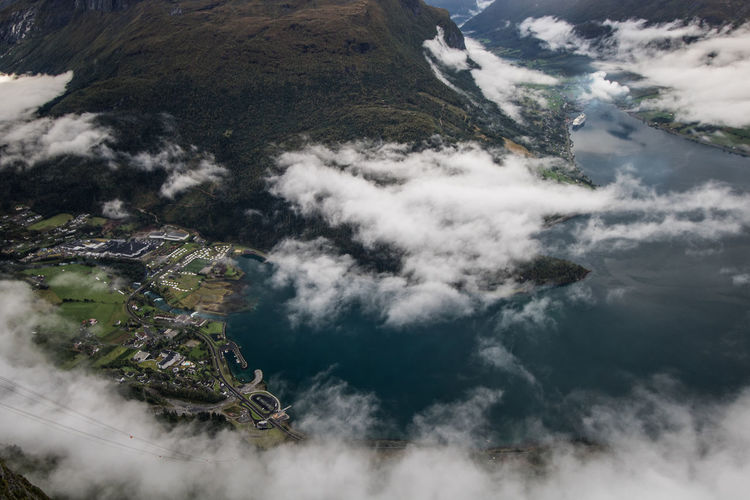 View on top of Loen Skylift in Norway Drone View Norway Fjord View From Above Loen Skylift Wide Angle High Angle View Nature Day No People Water Outdoors Beauty In Nature Scenics