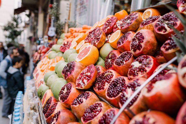 Close-up of fruits at market stall for sale