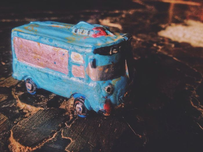 The old bus Oldbus Oldcar Crash Tayo Bus No People High Angle View Close-up Indoors  Metal Still Life Nature Old Focus On Foreground Blue Art And Craft Multi Colored