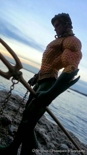 NYGT Not Your Grandpa's Toyography Toy Photography Aquaman Lake Sunrise At Trails By Grapevine Lake DC Comics