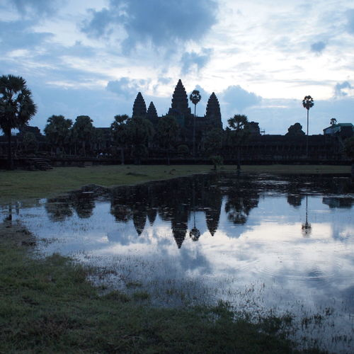 Angkor Wat near Siem Reap, Cambodia Angkor Angkor Wat Architecture ASIA Buddhism Cambodia Dark Famous Place Indochina Khmer Lake Landmark Place Of Worship Pond Reflection Religion Ruin Silhouette Southeast Asia Sunrise Temple Tourism Travel Twilight Water