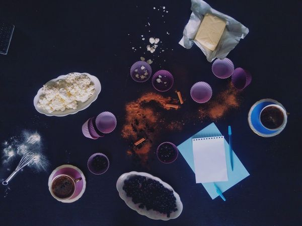Baking Flat Lay Butter Muffins Cup Cottagecheese Cinnamon Rolls Black Currants Forest Fruits Blueberries Cup Of Coffee Blank Page Cinnamon Recipe Porcelain Cup Hot Drinks Blank Paper Flour Baking Ingredients Pastel Purple Directly Above