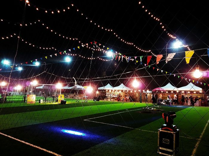 Green Color Grass Sport Stadium Night Sky Sports Venue Illuminated No People Soccer Field Outdoors