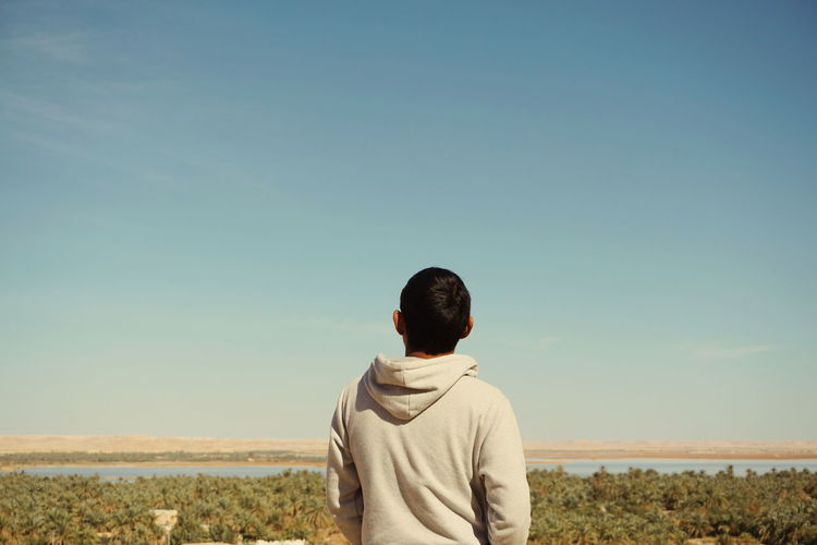 Rear view of man standing against landscape and clear sky