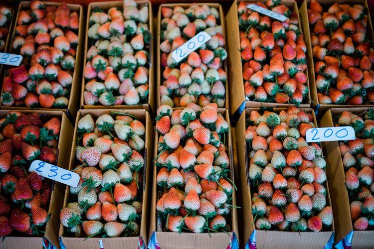 Full frame shot of strawberries for sale