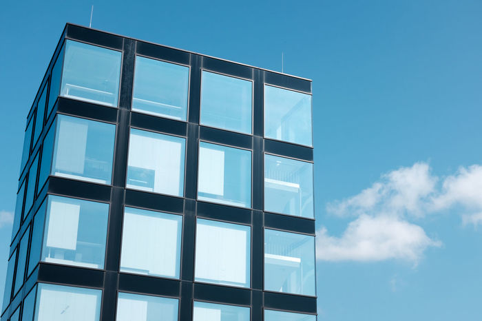 21er Haus Architecture Blue Building Exterior Built Structure Cloud - Sky Day Glass - Material Low Angle View Modern Modern Architecture Nature No People Outdoors Sky Square Window
